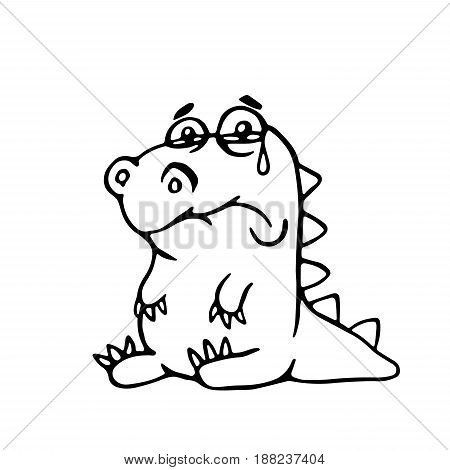 cute sad dragon. vector illustration. funny cartoon character.