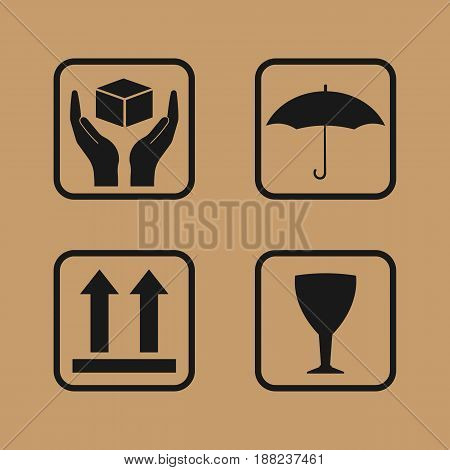 Fragile symbol on cardboard. Set of fragile icons on cardboard. Umbrellaglass arrow and hands box signs vector illustration eps 10