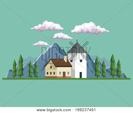 daytime background landscape of field and mountains and house with windmill vector illustration