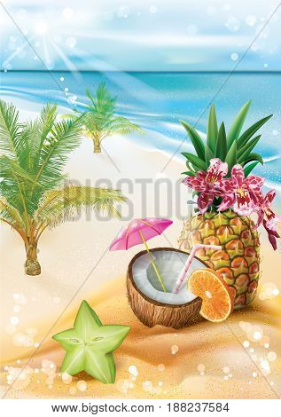 Exotic fruit coconut cocktail on a summer tropical beach background. Vector illustration