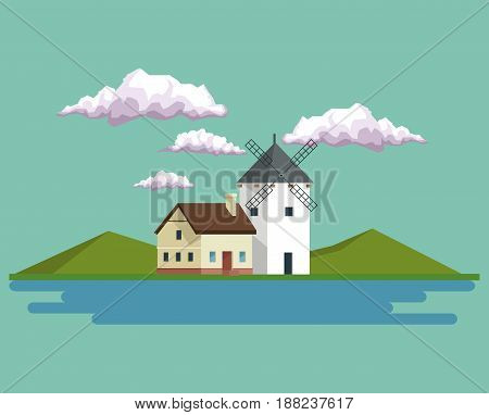daytime background landscape of mountains and house with windmill and lake vector illustration