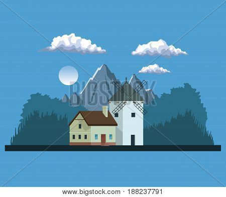 night background landscape of mountains and house with windmill vector illustration
