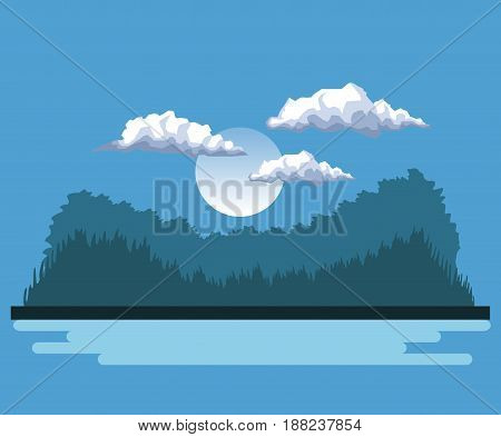night background landscape of mountains and lake and moon vector illustration