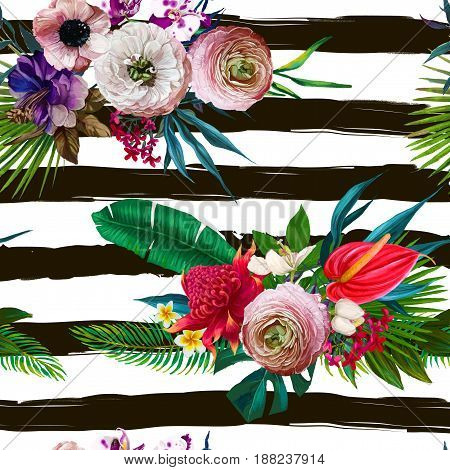 seamless pattern with exotic tropical leaves and flowers