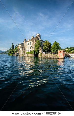 San Giulio island on Orta lake Novara province Piedmont region italy