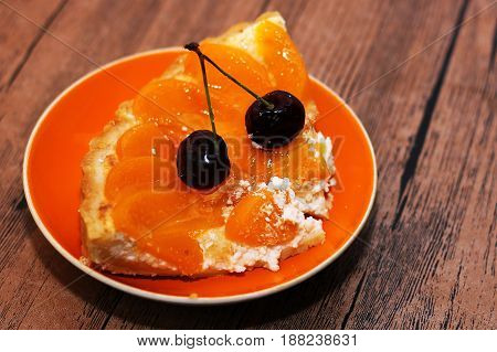 Tart with cheese and apricots sweet food
