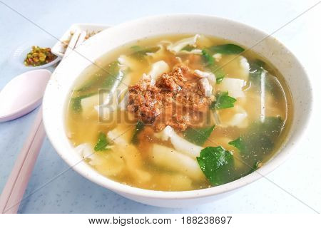 Flat Flour Noodle Soup Or Pan Mee, Popular Malaysia Cuisine