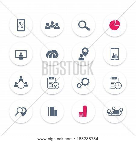 16 business icons set, reports, statistics and indexes, eps 10 file, easy to edit