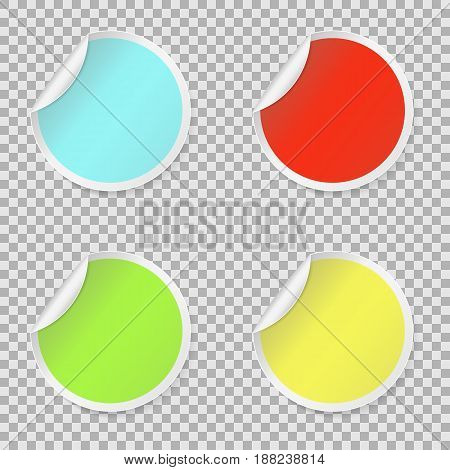 Sticker set colored blank round stickers collection. Round peel off paper sticker with shadow. isolated on white background. Vector illustration. Eps 10