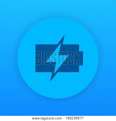 charging battery icon, round pictogram, eps 10 file, easy to edit