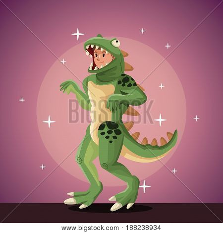 lizard man costume party in spotlight background with bright vector illustration