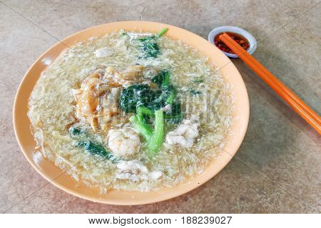 Plate Of Delicious Fried Kuey Teow Noodle Chinese Cantonese Style