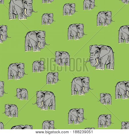 Cartoon Elephant Seamless Pattern on Green Background
