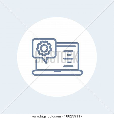 laptop and gear line icon isolated on white, eps 10 file, easy to edit