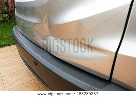 Minor Dent At Car Rear Door Due To Accident