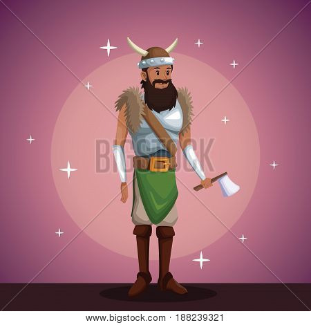 viking man costume party in spotlight background with bright vector illustration