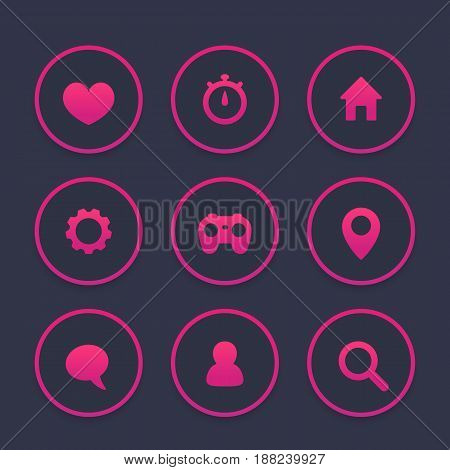 Basic web icons set, favourite, contact us, profile, settings, user, chat, message, login, eps 10 file, easy to edit