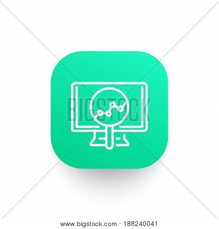 Analytics line icon, statistic graph on computer screen, vector illustration