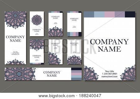 Vector template business card. Geometric background. Card or invitation collection. Islam, Indian ottoman motifs.