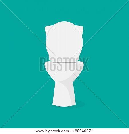 White open toilet bowl icon flat Isolated on white background. Vector illustration eps 10