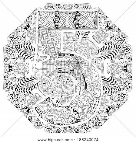 Hand-painted art design. Adult anti-stress coloring page. Black and white hand drawn illustration mandala with numero five for coloring book