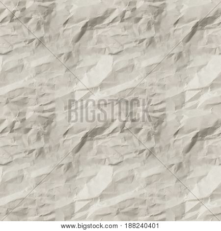 Texture of white crumpled paper. seamless pattern