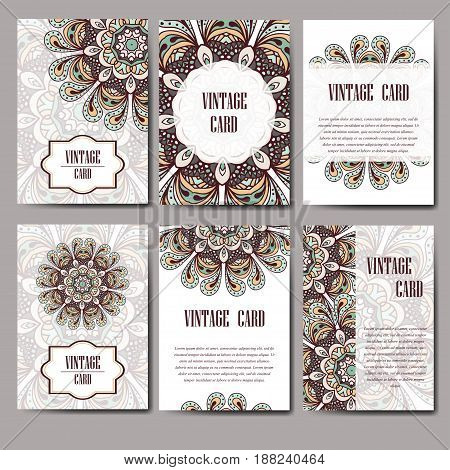 Invitation graphic card with mandala. Decorative ornament for card design: wedding, bithday, party, greeting. Vintage mandala element. Vector illustration