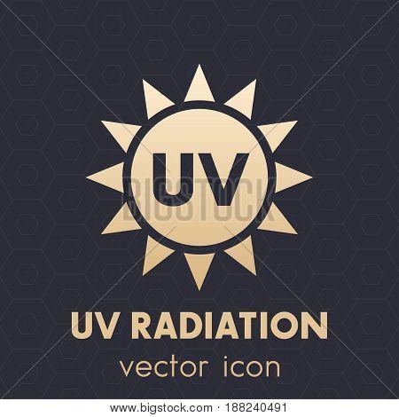 UV radiation icon, vector symbol on dark, eps 10 file, easy to edit