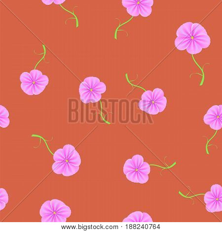 Spring Flower Seamless Pattern on Red Background