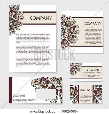 Vector template business card. Geometric background. Card or invitation collection. Islam, Arabic ottoman motifs.