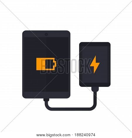 power bank charging tablet, portable charger vector illustration, eps 10 file, easy to edit