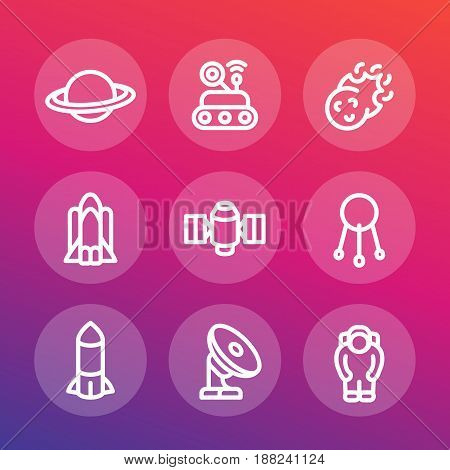 Space line icons set, planet with asteroid belt, comet, satellite, shuttle, rocket, radio telescope, astronaut