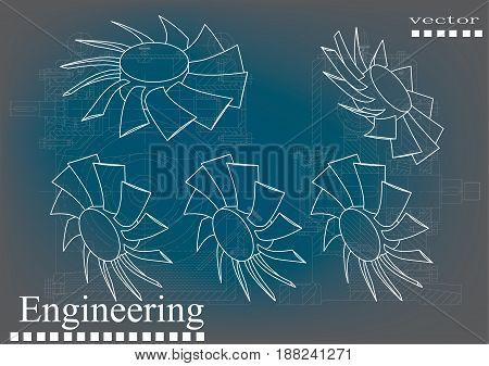 Drawings of fan on a blue - gray