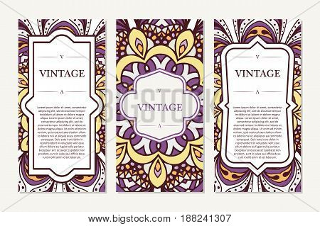 Retro card with mandala. Vintage background with place for text. Graphic template for your design. decorative ornament.