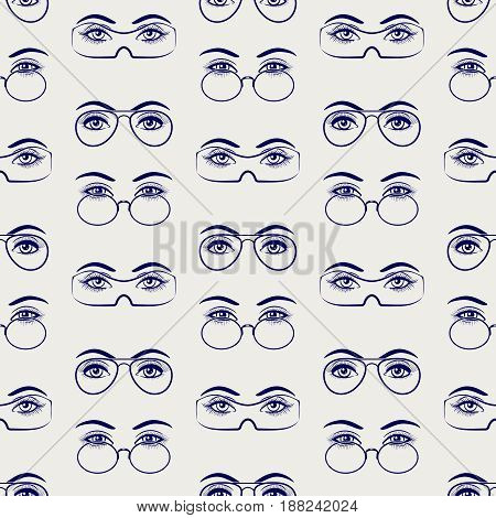 Ballpoint pen drawing female eyes with glasses seamless pattern. Vector illustration