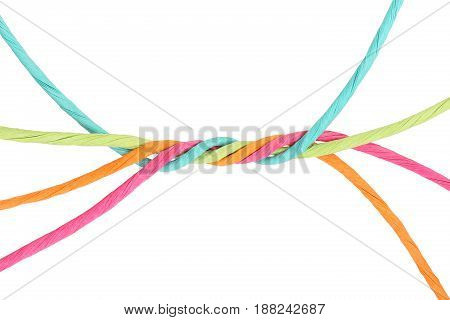 intertwined colorful cords isolated on white abstract unity concept