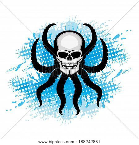 Skull with octopus tentacles and blue water splash.