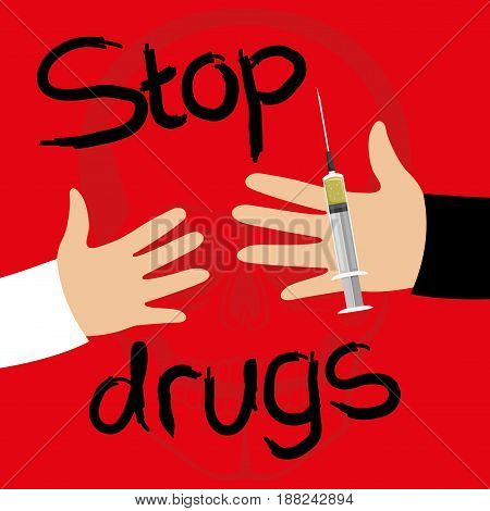 Syringe in the hand of a drug dealer on a red background.