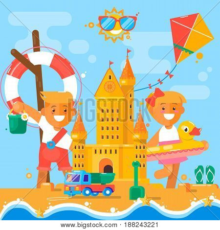 Children s summer activities at the beach.Vector illustration