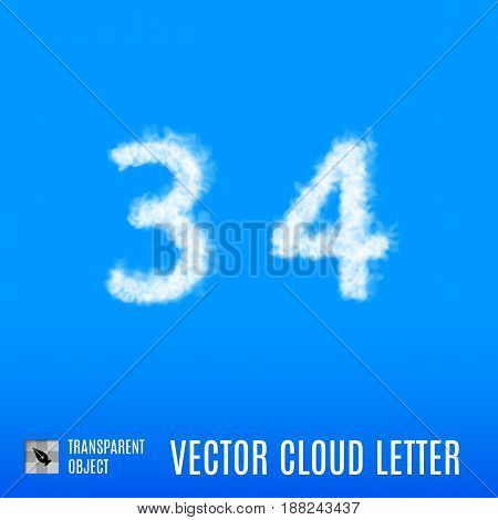Clouds in Shape of the Number Three and Four on Blue Background