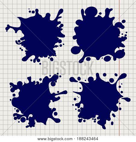 Ballpoint pen blemishes or splash shapes on notebook background. Vector illustration