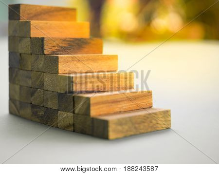 Stair case is made by wooden block