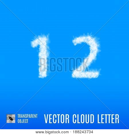 Clouds in Shape of the Number One and Two on Blue Background