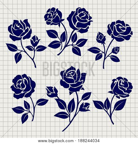 Roses collection for design on notebook page. Vector illustration