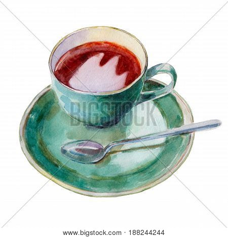 The tea cup with dish and spoon isolated on white background watercolor illustration in hand-drawn style.