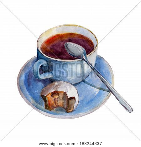 The tea cup with dish slice of pie and spoon isolated on white background watercolor illustration in hand-drawn style.