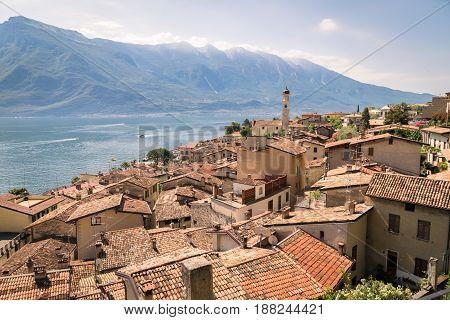 Panorama of Limone sul Garda a small town on Lake Garda Italy.
