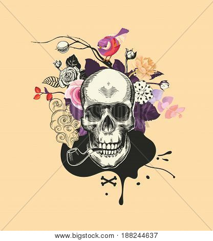 Human skull drawn in woodcut style smokes fuming tobacco pipe against bunch of semi-colored flowers and black blot on background. Vector illustration for banner, poster, t-shirt print, postcard.
