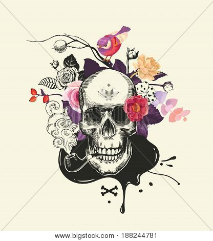 Human skull drawn in etching style with smoking pipe in mouth against bouquet of half-colored roses, crossed bones and ink stain on background. Vector illustration for banner, poster, t-shirt print.