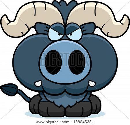 Cartoon Little Blue Ox Angry
